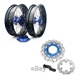 05-17 Suzuki DRZ400SM 17 Supermoto Complete Wheel Set Rims Hubs Rotors Bracket