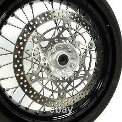 05-20 Suzuki DRZ400SM DRZ400 17 BLACK Excel Supermoto Front Rear Wheel Set BH