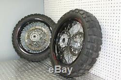 06-17 Suzuki DRZ400SM Wheel Set With Tires And Brake Rotors (P-38)