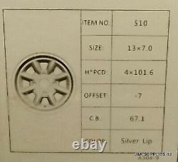 13x7 SUPERLITE ALLOY WHEELS 7x13 -7ET 4X101.6 SILVER SET OF 4 CLASSIC MINI