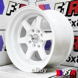 15 15x8 0 OFFSET 4x100/114.3 F1R F05 3LIP 6 SPOKE WHITE TUNER WHEEL SET 4