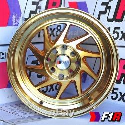 15x8 +25 4x100/114.3 F1R F07 MACHINE GOLD 2 STEP LIP BLADE TUNER WHEELS SET OF 4