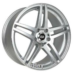 16x7 Enkei RSF5 4x100 38 Silver Machined Wheels Rims Set(4)