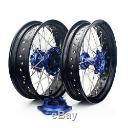 17&17 Supermoto Complete Wheel Set Rims Hubs Rotors Blue Suzuki DRZ400SM 05-17