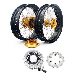 17 Supermoto Wheel Rim Hub Rotors Set Cush Drive For Suzuki DRZ400SM 2005-2017