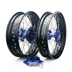 17 Wheels Rim Set Cush Drive For Suzuki DR-Z 400E 400S DRZ400SM 00-18 Blue Hubs