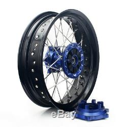 17 Wheels Set Cush Drive For Suzuki DRZ 400E 400S DRZ400SM Black Rims Blue Hubs