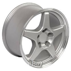17x9.5 Rims Fit Corvette Camaro ZR1 Wheels Silver Machined SET of 4