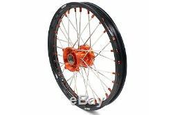 1.417 & 1.614 Small Wheel Set Fit Ktm85 Sx 2003-2019 Ktm Rim Orange Nipples