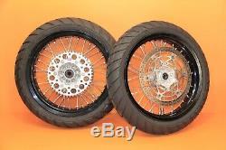 2006 05-19 DRZ400SM Front Rear Wheel Set Hub Rim Spokes Rotor 17 SUPERMOTO NICE