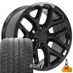 20 Black 5668 Wheels Goodyear Tires TPMS SET Fits Silverado Tahoe CV98 20x9