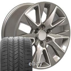 20 Silver Machined 5919 Wheels & Goodyear Tires SET Fits Yukon Sierra 20x9