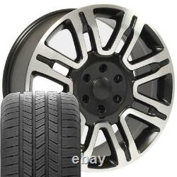 20 Wheel Tire SET Fit Ford Expedition Style Rims Black Mach'd 3788 GY Tires