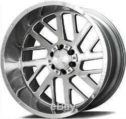 20x12 AXE AX2.1 8x6.5/8x165.1 -44 Silver Brush Milled Wheels Rims Set(4)