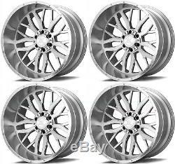 22x12 AXE AX1.1 8x6.5/8x165.1 -44 Silver Brush Milled Wheels Rims Set(4)