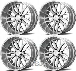 22x12 AXE AX1.1 8x6.5/8x165.1 -44 Silver Brush Milled Wheels Rims Set(4) 125.2