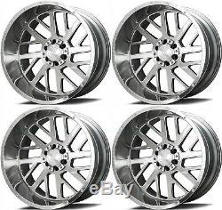 22x12 AXE AX2.1 8x6.5/8x165.1 -44 Silver Brush Milled Wheels Rims Set(4)