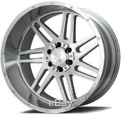 22x12 AXE AX3.1 6x135/6x5.5 -44 Silver Brush Milled Wheels Rims Set(4)