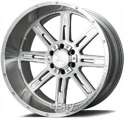 22x12 AXE AX4.1 5x5/5x5.5 -44 Silver Brush Milled Wheels Rims Set(4)