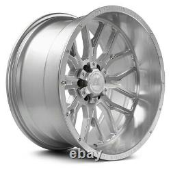 22x12 AXE AX6.1 8x6.5/8x165.1 -44 Silver Brush Milled Wheels Rims Set(4) 125.2