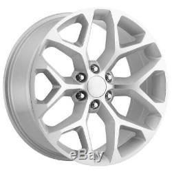 22x9 Strada Replica R176 Snowflake 6x5.5/6x139.7 31 Silver Machine Wheels Set(4)