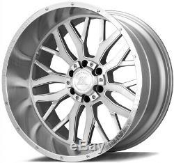 24x12 AXE AX1.1 8x6.5/8x165.1 -44 Silver Brush Milled Wheels Rims Set(4)