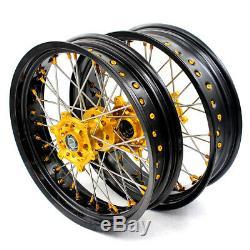 3.517/4.2517 Supermoto Wheelset Rims For Drz400 Drz400e/s Drz400sm Gold Nipple