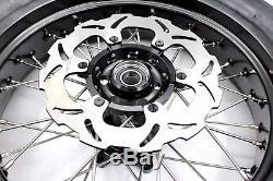 3.5/4.2517 Cst Tire Fit Suzuki Drz400sm 2005-2018 Supermoto Wheels Rims Set Blk