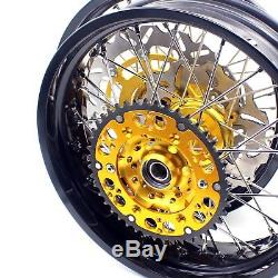 3.5/4.2517 Supermoto Motard Wheels Rims Set Fit Suzuki Drz400sm 2005-2018 Gold