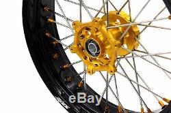 3.5/4.2517 Supermoto Wheels Set Fit Suzuki Drz400 Drz400s/e Drz400sm Gold Nippl