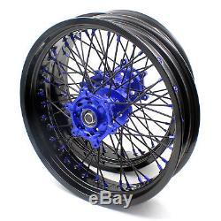 3.5/4.25 Supermoto Wheels Set For Suzuki Drz 400 400s Drz400e Drz400sm Blue/blk