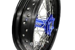 3.5/5.017 Supermoto Wheels Set For DRZ400 DRZ400E/S DRZ400SM 2005-2019 Blue Hub