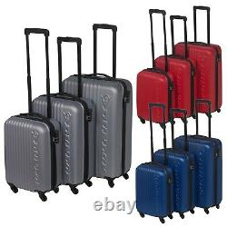 3 Dunlop ABS 4 Wheeled Spinner Suitcase Set Hard Shell Luggage Baggage Cases