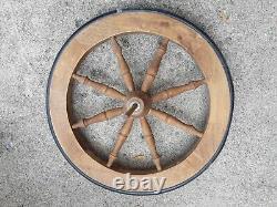 4 Vintage Wood Spoke Wheels Small Cart 2 Axels 14 Diameter Matching Set