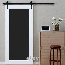 6.6/8/13FT Steel Sliding Barn Door Track Rail Roller Hardware Kit Set Black
