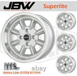 7x 13 Superlite Deep Dish Wheels 4 x 100 PCD Set of 4 Silver