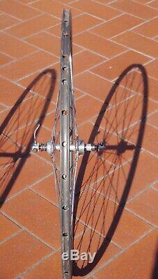 Campagnolo Record small flange, Nisi Laser tubular 700c vintage wheel-set, f&r