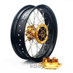 Fit 2005-2017 Suzuki DRZ400SM 17 Complete Wheels Rims Hubs Spokes Set & Rotors