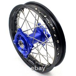 KKE 14/12 Front Rear Spoked Small Kid's Wheels Rim Set Fit Yamaha YZ65 2019 Blue