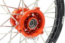 KKE 14/12 Spoked Kids' Small Wheels Rims Set For 65 SX 2002-2019 Orange Hub
