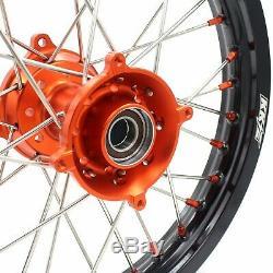 KKE 17/14 Kids Small Wheels Rims Set Fit KTM85 SX 2003-2020 Mini Bike Orange Hub