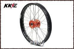KKE 17/14 Spoked Kid's Small Wheels Rims Set For KTM85 SX 2003-2019 Orange Hubs