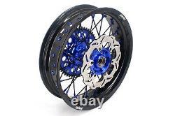 KKE 17 Supermoto Wheel Rim Set Fit Suzuki DRZ400SM 2005-2020 Disc Black Spoke