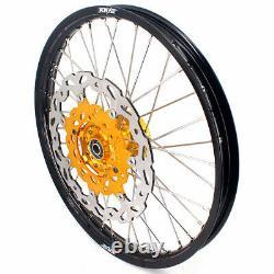 KKE 21 18 CNC Motorcycle Wheels Rims Set Fit DRZ400SM 2005-2020 Gold Hubs
