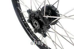 KKE 21/18 CNC Wheels Set For Suzuki DRZ400 DRZ400E DRZ400S DRZ400SM Black Hub