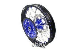 KKE 21 18 Complete CNC Wheel Rim Set For Suzuki DRZ400SM 2005-2020 Blue Nipple