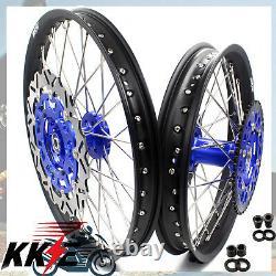 KKE 21/18 Enduro CNC Dirt Bike Wheel Rim Set For Suzuki DRZ400SM 2005-2020 Blue