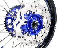 KKE 21/18 Enduro Wheels Rims Set Fit SUZUKI DRZ400SM 2005 310mm Disc Blue Nipple