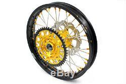 KKE 21/18 Enduro Wheels Rims Set Fit SUZUKI DRZ400SM 2005 Gold Nipple 310mm Disc