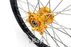 KKE 21/18 Enduro Wheels Rims Set Fit SUZUKI DRZ400 DRZ400E DRZ400S DRZ400SM Gold
